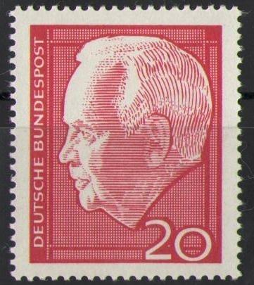 429 Heinrich Luebke 20 Pf Deutsche Bundespost Briefmarke Solar