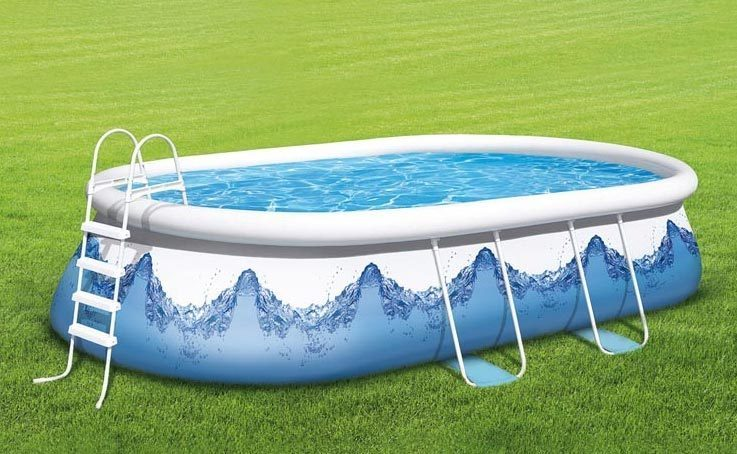 Oval pool 976 x 366 x 122 cm mit luftring for Quick up pool obi